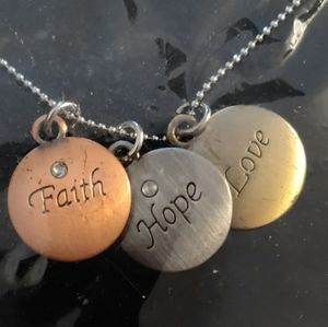 New Faith Love Hope bronze silver gold necklace